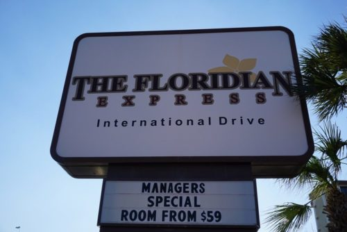 The Floridian Express is perfectly situated on busy International Drive (nicknamed I-Drive)